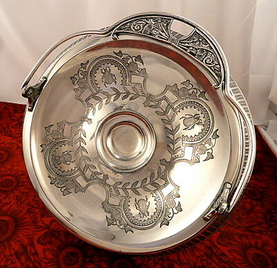 Rare Antique Aurora Aesthetic Victorian Triple Silver Plate Scarab Cake Basket
