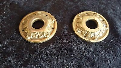 Vintage Pair Of SOLID Brass Door Handle Decorative Rosettes 1 3/4 inch