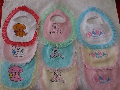 "Baby Born 17"" Dolls Clothes 3 Bibs For Baby Born"
