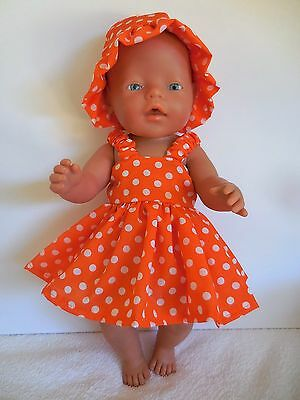 Baby Born Dolls Clothes Bright Orange Summer Outfit