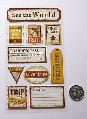 Scrapbooking No 380 - 10 Small To Medium Travel Sayings Stickers Pack