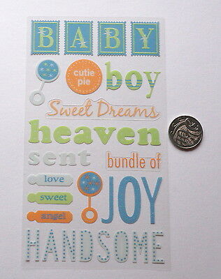 Scrapbooking No 382 - 12+ Small To Medium Baby Boy Themed Stickers