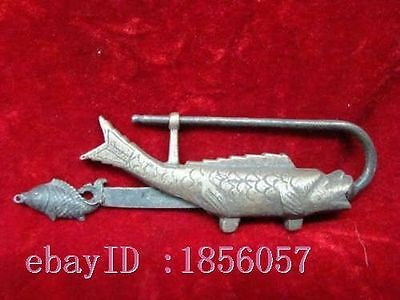 Rare Chinese old style Brass Carved Lifelike Fish padlock lock and key