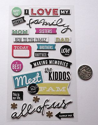 Scrapbooking No 093 - 16 Plus Chipboard Family Themed Stickers