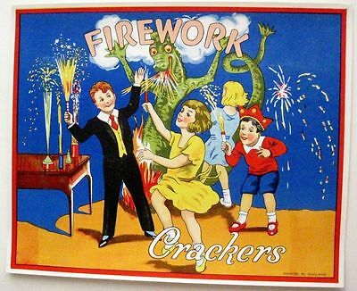 "1930-40's Art Deco English Label for ""Crackers"" Poppers w/ Green Dragon *"