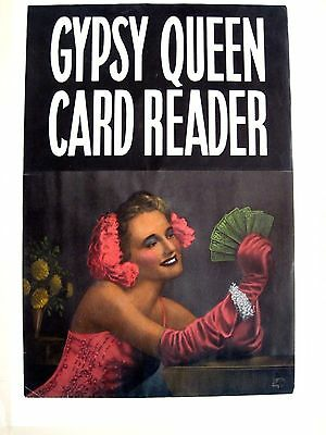"""1940 's """"Gypsy Queen Card Reader"""" Arcade Poster w/ Woman Holding Tarot Cards *"""