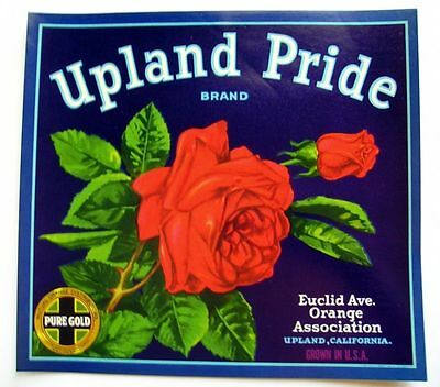 1940 Beautiful Red Rose Flower Crate Label Upland Pride