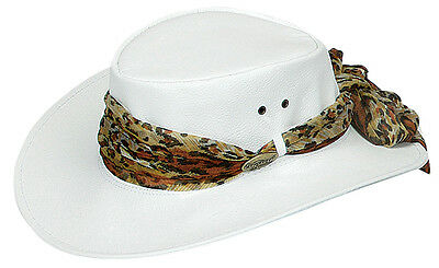 Kangaroo  Water replant hat Soft leather with Scarf    Packer hats  white   roo