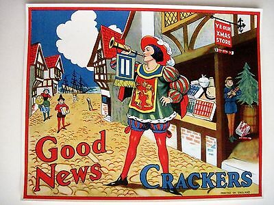 "Delightful 30-40's Art Deco English Label for ""Crackers"" Poppers - ""Good News"" *"