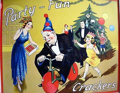 "Delightful 30-40's Art Deco English Xmas Label for ""Crackers"" Poppers w/ Toys *"