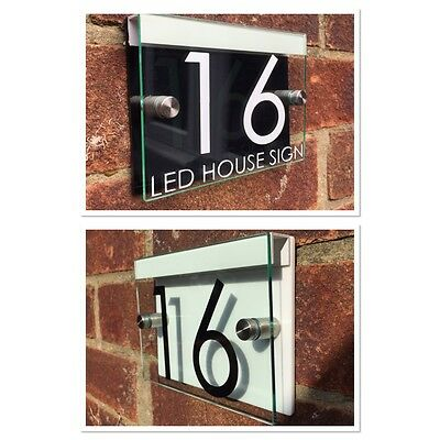 Modern House Sign Plaque Door Number Street Glass Acrylic Black/white Led Holder