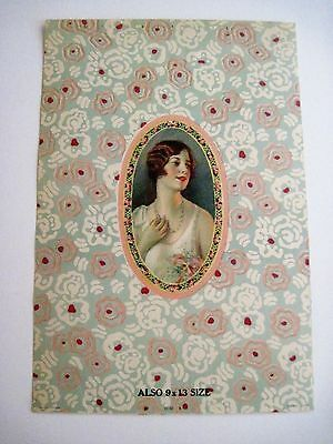 Pretty Vintage Art Deco Candy Box Label w/ Lovely Lady w/ Pink & Red Flowers *