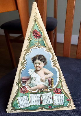 Rare 1900 Stand up Triangular Calendar by Great Atlantic Pacific Tea Co