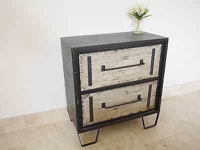 2 x Vintage Industrial Metal And Distressed Wood Retro Bedside Chest Of Drawers
