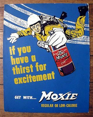 Real Vintage Moxie Soda Counter Display w/ Easel Guy Parachuting w/ Moxie