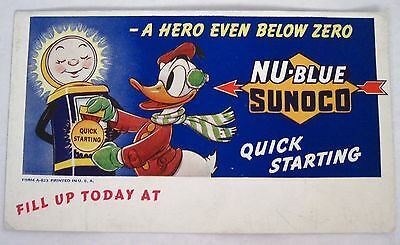 """Shinning Vintage """"Donald Duck"""" Blotter for """"Sunoco"""" Gas w/ Donald in Earmuffs *"""