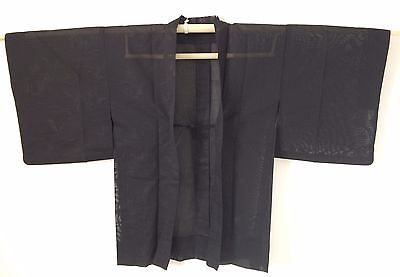 Authentic handmade black Japanese see through Haori jacket for kimono (I410)