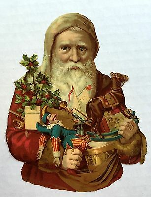 Victorian Era 1880s Die Cut Scrap of Old Style Santa Holding Toys