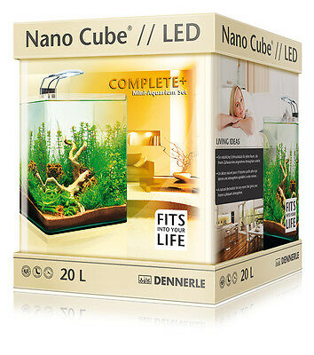 Dennerle Nano Cube 20L Complete Plus LED Aquarium Tank - Light Filter Substrate • EUR 109,07