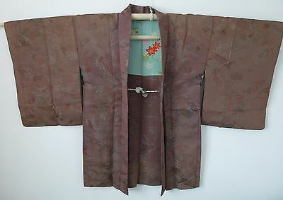 Authentic handmade Japanese brown Haori jacket for Kimono, with himo (I411)