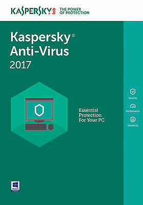 Kaspersky Anti Virus 2016 - 3 Pc Device - New - Download