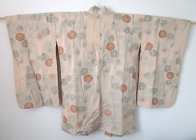 Vintage authentic pink/flowers women's haori jacket for kimono, with himo (I412)