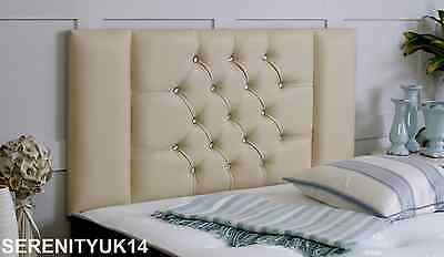 **cream Faux Leather** Kingston Diamante Headboard All Sizes Available