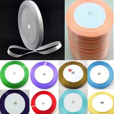 "5 yds Satin Ribbon 6mm 1/4"" scrapbook sewing craft single face DIY wedding #391"