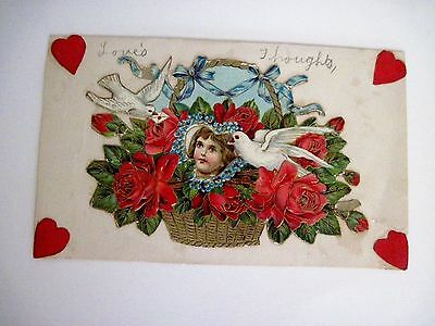 Vintage Antique Hand Made Card For Teacher w/ Gorgeous Die Cut Front of Card *