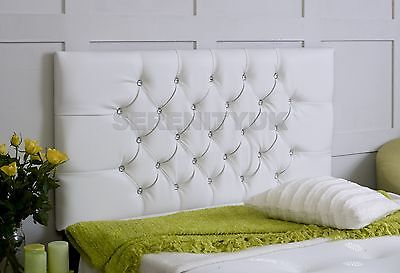 Chesterfield **white Faux Leather** Diamonte Headboard Choose Your Size Free P/p