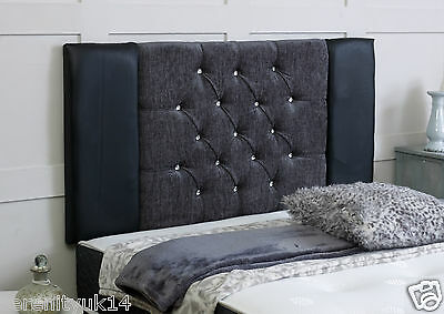 Stylish Kingston Diamante Luxury Headboard All Sizes Chenille & Faux Leather