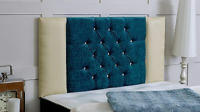 Kingston Diamante Headboard Chenille & Faux Leather All Sizes Cream/teal