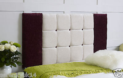 Quality Oxford Plum & Cream Luxury Chenille Headboard All Sizes Available
