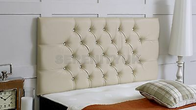 **cream Faux Leather** Chesterfield Diamante Headboard Choose Your Size Free P/p