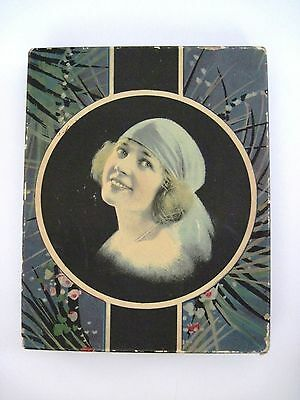 Vintage Art Deco Stationary Box w/ Lovely Woman on Cover Wearing Blue Hat  *