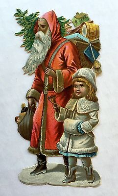 Vintage Die Cut Scrap of Old Style European Santa w/ Toys and Little Girl