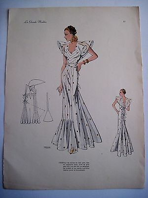 Vintage Print of Woman in French Fashion Design Clothes w Gorgeous Dress *