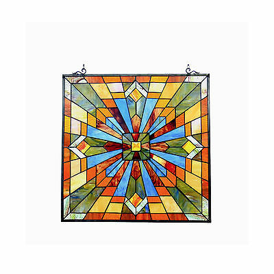 "CH1P037AM24-GPN Emma Mission Tiffany Style Stained Glass Window Panel 24"" X 24"""