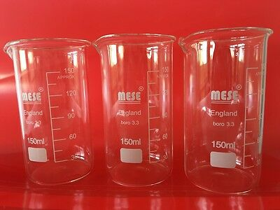 3x 150ml Borosilicate Glass Beakers, Tall-Form