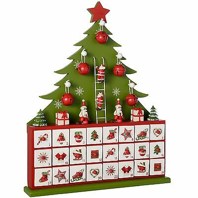 WeRChristmas Wooden Tree Advent Calendar Christmas Decoration Green 40 cm