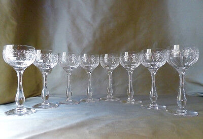 8 Stuart Crystal Arundel cut hock glasses, 7 signed