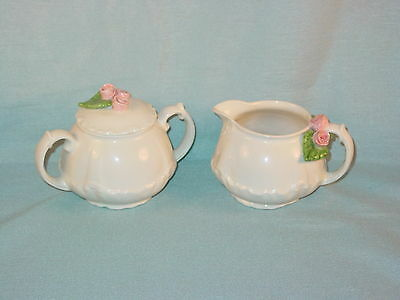 Mud Pie Usa Raised Rose Creamer And Sugar Bowl