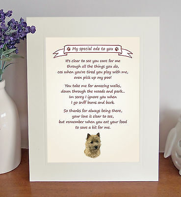 """Cairn Terrier 10""""x8"""" Free Standing Thank You Poem Fun Novelty Gift FROM THE DOG"""