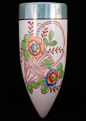 Vintage Nippon Porcelain Lustreware Wall Pocket Vase Hand Painted Japan