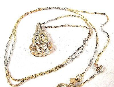 14K GOLD CLOWN ROSE WHITE YELLOW VINTAGE PENDANT with 18'' CHAIN MADE ITALY 1.7