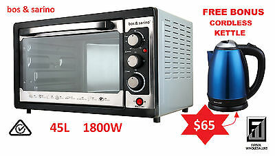 BOS & SARINO 1800W Convection Rotisserie Pizza BBQ Oven 45L 1Yr Wty +FREE KETTLE