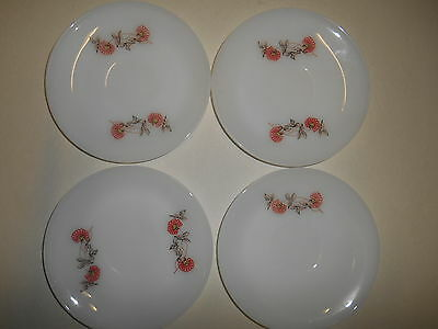 Vintage Fire King Oven Ware White with Fleurette Pattern * Set of 4 Small Plates