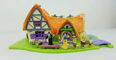 Polly Pocket Snow White Cottage With 6 Figures Disney Bluebird Playset