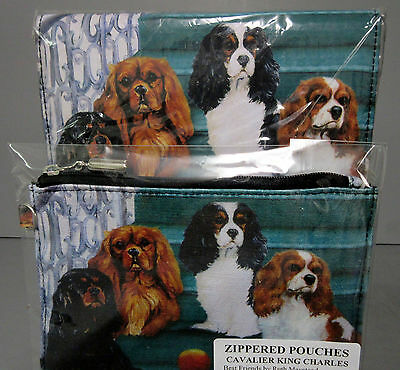 New Cavalier King Charles Dog Zippered Pouch & Check Book Wallet 4 Dogs