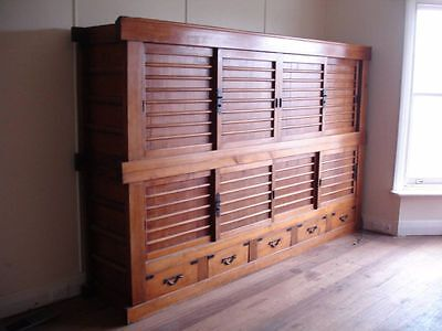 Antique Japanese Meiji Tansu Chest 2 Section 8 Panls 5 Drawers